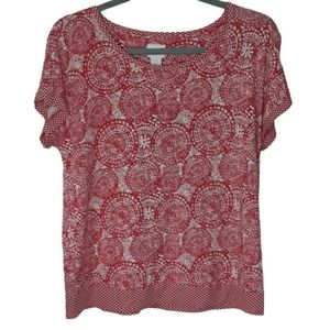 Chico's floral print short sleeve top, M